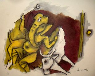 Untitled by M F Husain, Impressionism Painting, Lithography on Paper, Beige color