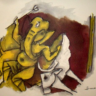 Ast Vinayak Series by M F Husain, Impressionism Painting, Lithography on Paper, Beige color