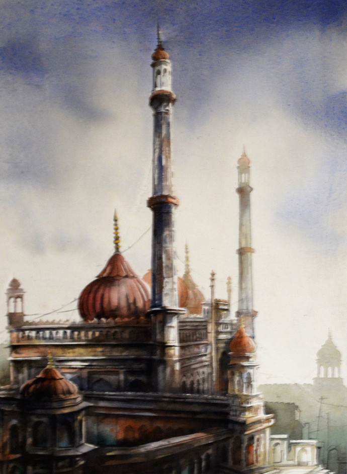 Bada Imambada, lucknow by Sudip Roy, Impressionism Painting, Water Based Medium on Paper, Beige color