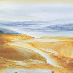 Ganges Delta by Vinod Sharma, Impressionism Painting, Oil on Canvas, Beige color