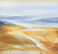 Ganges Delta by Vinod Sharma, Impressionism Painting, Oil on Canvas, Beige color