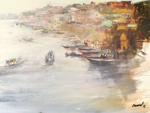 Sunrise in Banaras by Jamal Ahmed, Impressionism Painting, Acrylic on Canvas, Beige color