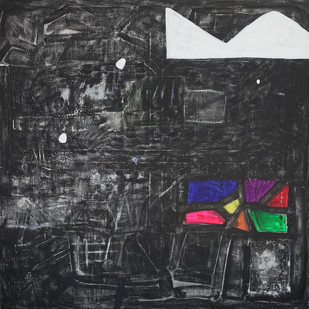 mid night 1 by Aditya Sagar, Abstract Painting, Mixed Media on Canvas, Gray color