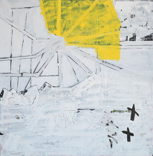 At 36 thousand feet by Aditya Sagar, Abstract Painting, Acrylic & Ink on Canvas, Gray color