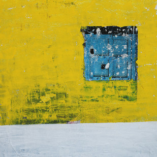 old wall story by Aditya Sagar, Abstract Painting, Mixed Media on Canvas, Yellow color
