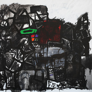 emotions and responses 9 by Aditya Sagar, Abstract Painting, Mixed Media on Canvas, Gray color
