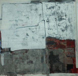 old wall story 9 by Aditya Sagar, Abstract Painting, Mixed Media on Canvas, Cyan color