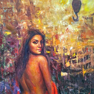 Muse by Harisadhan Dey, Expressionism Painting, Oil on Canvas, Brown color