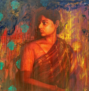 Memory by Harisadhan Dey, Expressionism Painting, Oil on Canvas, Brown color