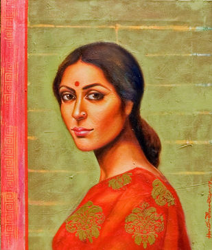 Bengal Beauty by Harisadhan Dey, Expressionism Painting, Oil on Canvas, Beige color