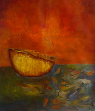 Floating yellow by Pradip Chaudhuri, Abstract Painting, Acrylic on Canvas, Brown color