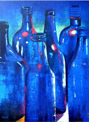 Bottles: A Study in Blue by Studio Zaki, Impressionism Painting, Acrylic on Canvas, Blue color