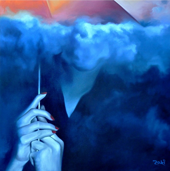 Clouds under the Umbrella by Studio Zaki, Impressionism Painting, Acrylic on Canvas, Blue color