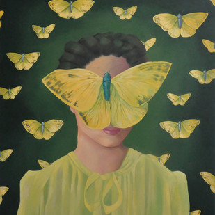 Yellow wings, Mellow mood by Studio Zaki, Fantasy Painting, Acrylic on Canvas, Green color