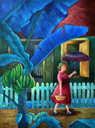 Aunty Maria Goes Shopping by Studio Zaki, Expressionism Painting, Acrylic on Canvas, Blue color