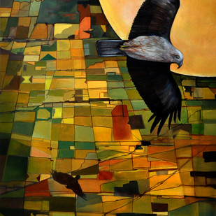The Eagle Sees All by Studio Zaki, Expressionism Painting, Acrylic on Canvas, Brown color