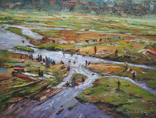 Landscape by Iruvan Karunakaran, Impressionism Painting, Acrylic on Canvas, Brown color