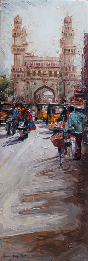 Charminar st by Iruvan Karunakaran, Impressionism Painting, Acrylic on Canvas, Brown color