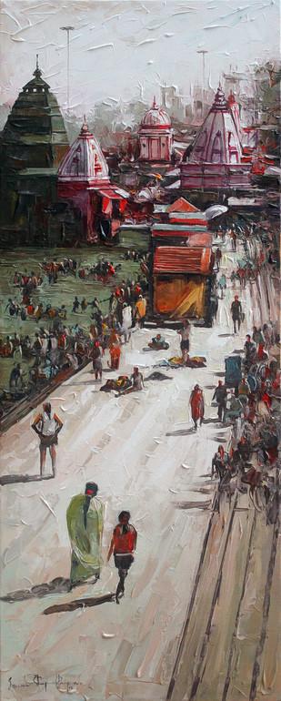 Haridwar by Iruvan Karunakaran, Impressionism Painting, Acrylic on Canvas, Brown color