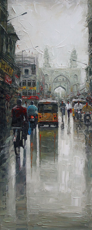 Charminar wet st_01 by Iruvan Karunakaran, Impressionism Painting, Acrylic on Canvas, Gray color