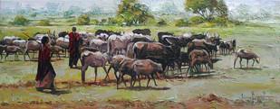 Landscape by Iruvan Karunakaran, Impressionism Painting, Acrylic on Canvas, Beige color