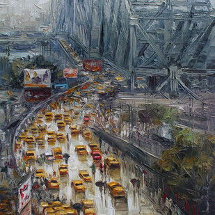 kolkata st by Iruvan Karunakaran, Impressionism Painting, Acrylic on Canvas, Green color