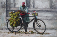 coconut seller by Iruvan Karunakaran, Impressionism Painting, Acrylic on Canvas, Gray color
