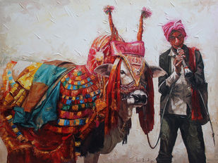 Gangireddu_03 by Iruvan Karunakaran, Impressionism Painting, Acrylic on Canvas, Brown color