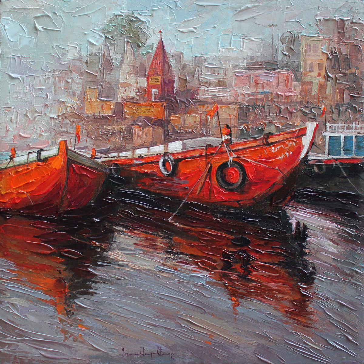 Varanasi 1 by Iruvan Karunakaran, Impressionism Painting, Acrylic on Canvas, Brown color