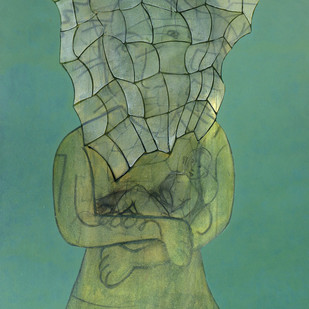 Untitled by rahul vajale, Surrealism Painting, Acrylic on Canvas, Green color