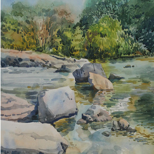 reflections by Roney Devassia, Impressionism Painting, Watercolor on Paper, Green color