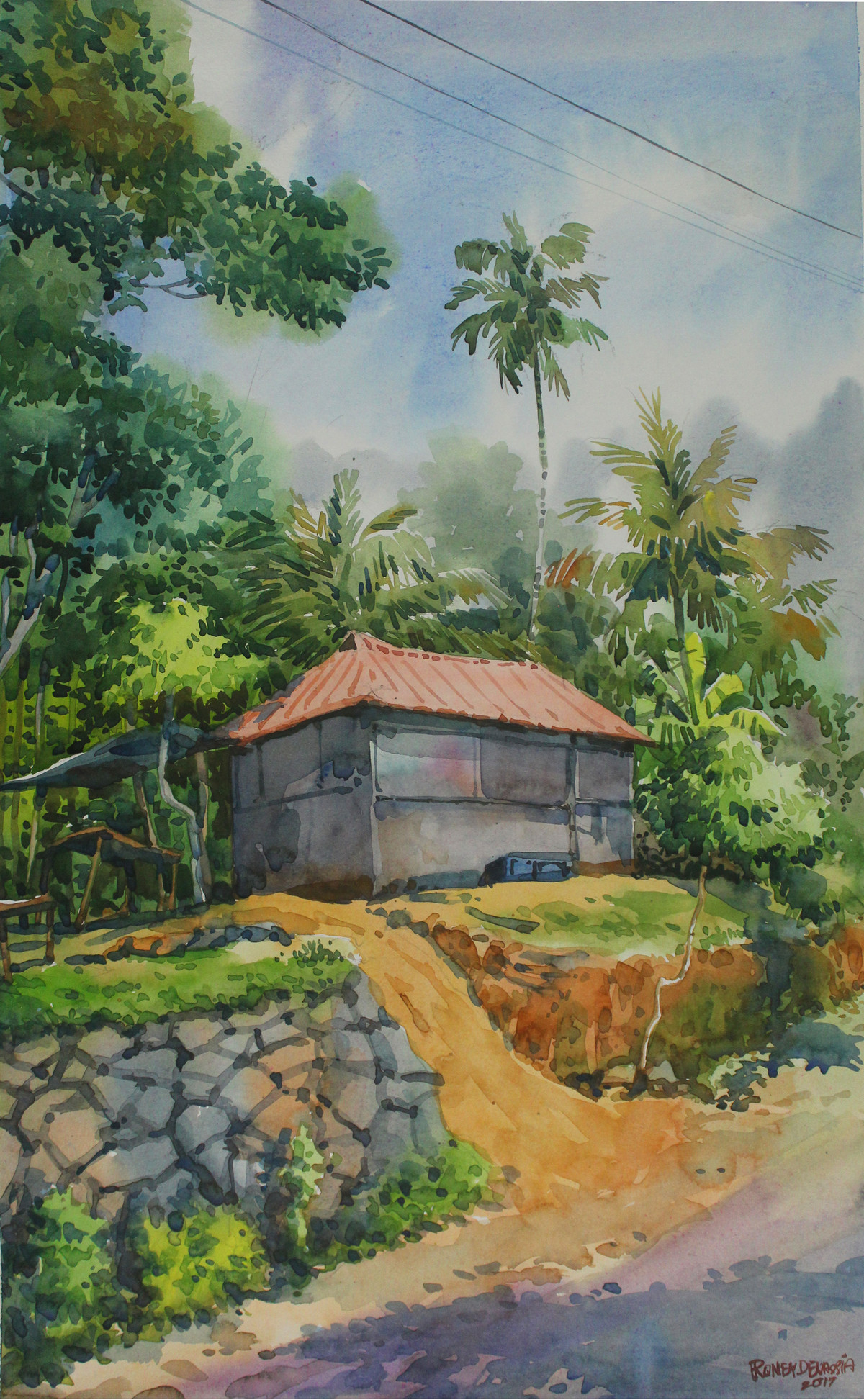 Kerala Landscape1 by Roney Devassia, Impressionism Painting, Watercolor on Paper, Green color