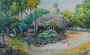 Landscape with a hut by Roney Devassia, Impressionism Painting, Watercolor on Paper, Green color
