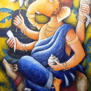 '' LORD GANAPATI '' by Anirban Seth, Traditional Painting, Acrylic on Canvas, Beige color