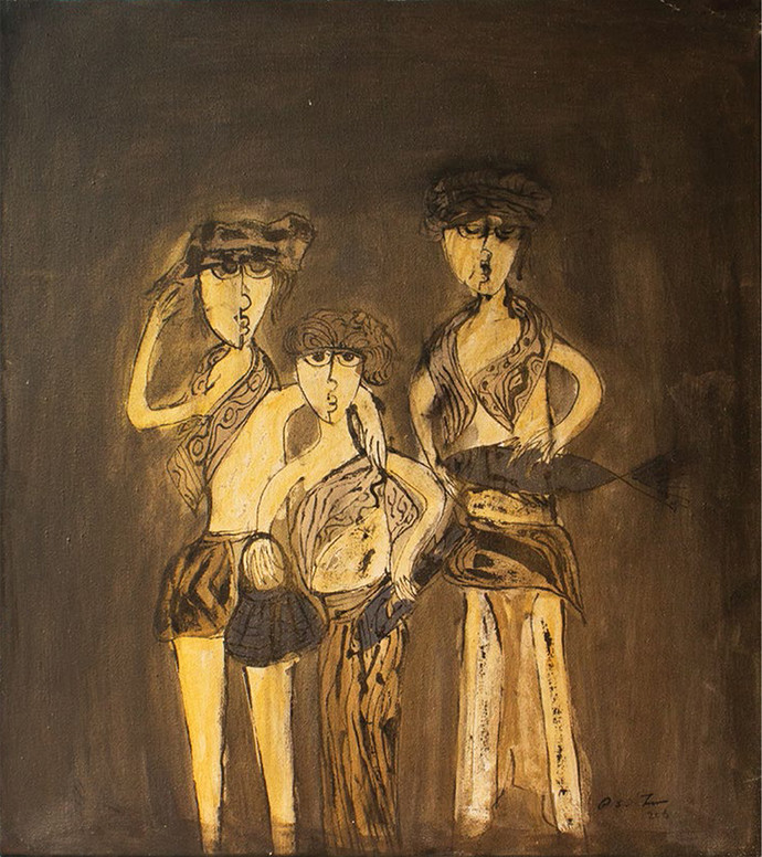 Fisher Folk by Richard Jesudas, Expressionism Painting, Mixed Media on Canvas, Brown color