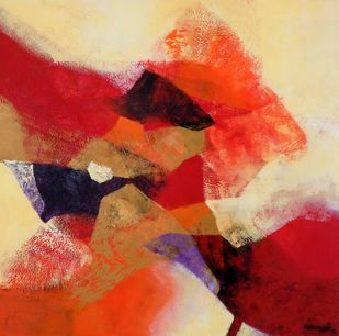 Incandescent by Vishwajyoti Mohrhoff, Abstract Painting, Acrylic on Canvas, Brown color