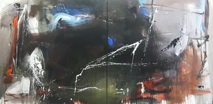 Space ( series ) diptych by Gulrez Ali, Abstract Painting, Acrylic on Canvas, Gray color