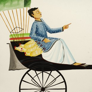 Babu in a rickshaw by Bhaskar Chitrakar, Folk Painting, Natural colours on paper, Beige color