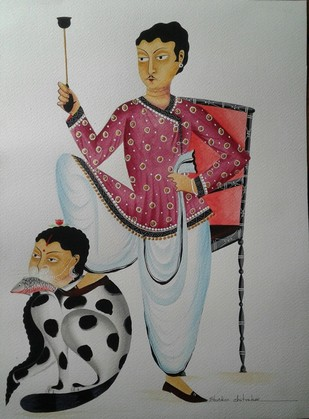 Babu - chauvinist by Bhaskar Chitrakar, Folk Painting, Natural colours on paper, Gray color