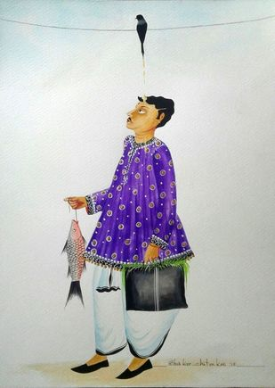"Babu receiving crow ""blessings"" by Bhaskar Chitrakar, Folk Painting, Natural colours on paper, Gray color"