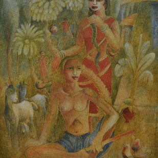 Rural Life by Prodyut Kumar Pal, Expressionism Painting, Acrylic on Canvas, Brown color