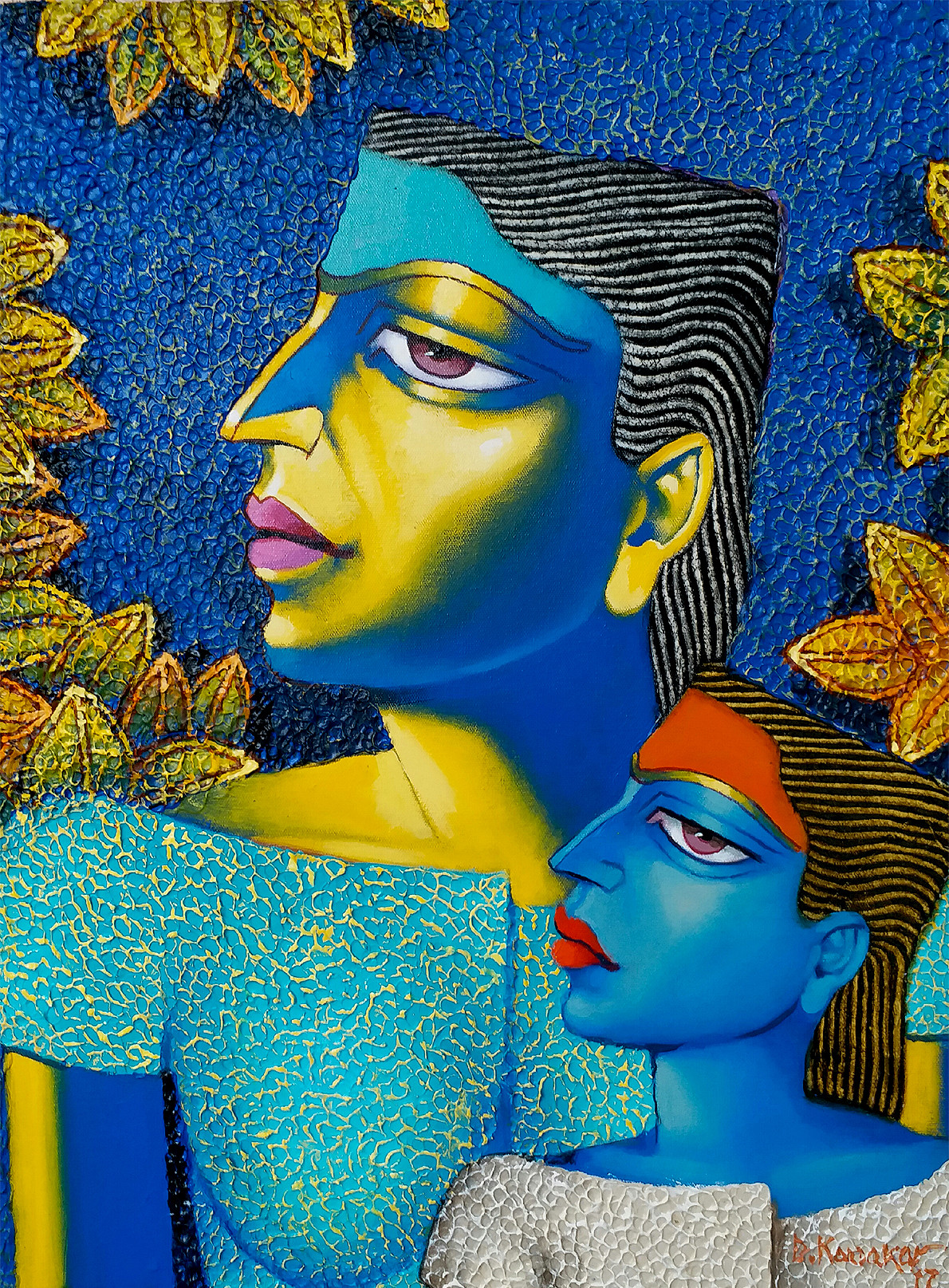 Mother and Child-1 by Dayanand Kamakar, Expressionism Painting, Oil & Acrylic on Canvas, Blue color