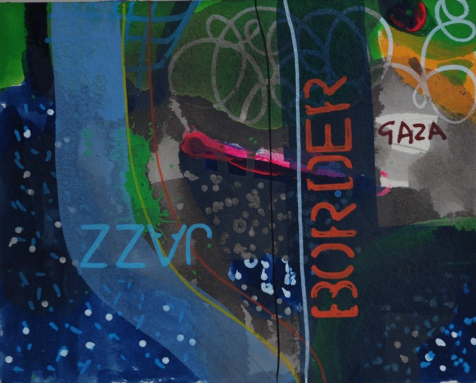 Border I by Harpreet Singh, Expressionism Painting, Acrylic & Ink on Paper, Blue color