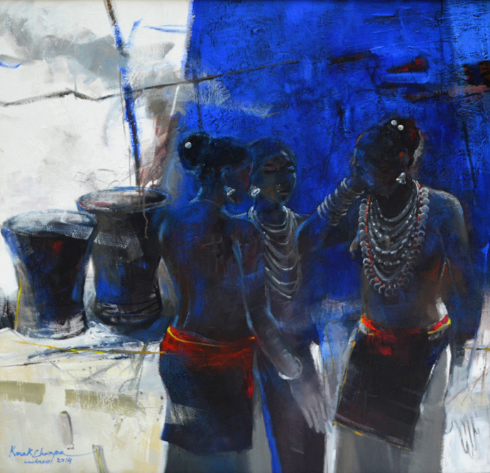 Three women by Kanak Champa, Expressionism Painting, Acrylic on Canvas, Blue color