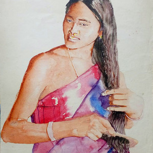 Tribal Woman by Sreenivasa Ram Makineedi, Expressionism Painting, Watercolor on Paper, Gray color
