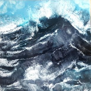 Black wave by Anjalee S Goel, Abstract Painting, Mixed Media on Board, Green color