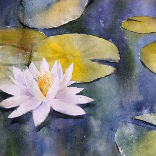 lilly pond by Sunil Linus De, Impressionism Painting, Watercolor on Paper, Beige color
