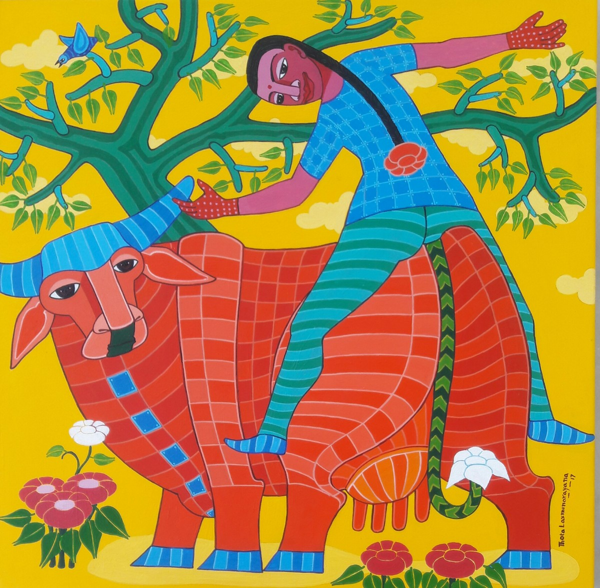 Untitled by Thota Laxminarayana, Expressionism Painting, Acrylic on Canvas, Green color