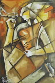 Untitled by Chandrashekar V, Expressionism Painting, Acrylic on Canvas, Beige color