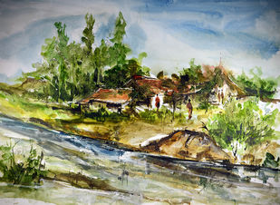 Landscape by K.Manohar, Impressionism Painting, Watercolor on Paper, Beige color